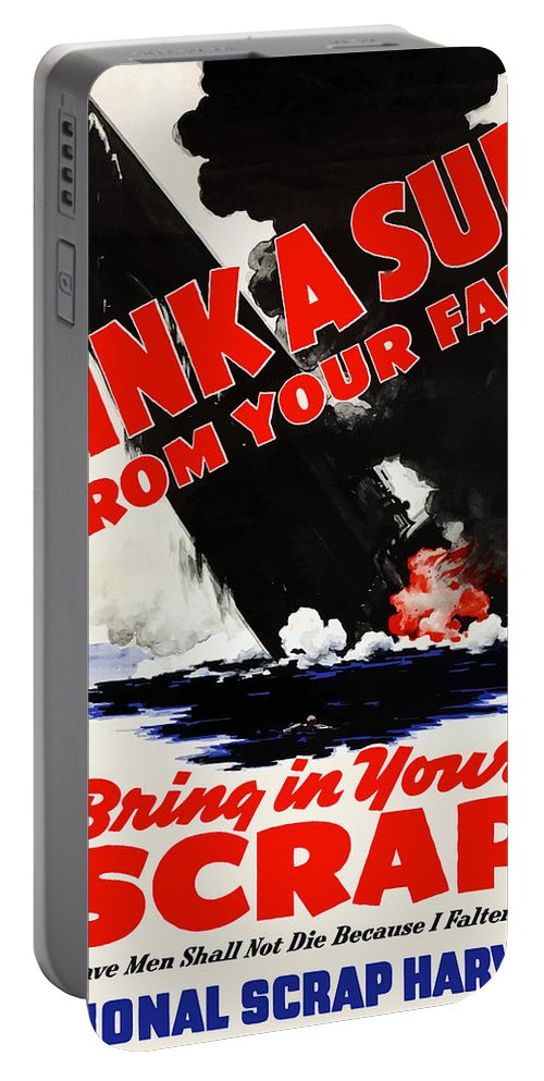 Submarine Portable Battery Charger featuring the painting Sink A Sub From Your Farm by War Is Hell Store