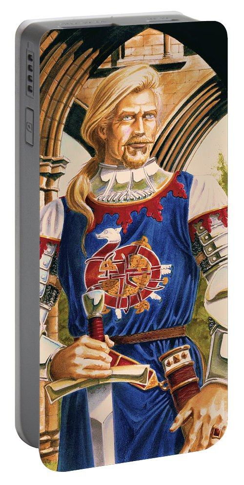 Swords Portable Battery Charger featuring the painting Sir Dinadan by Melissa A Benson
