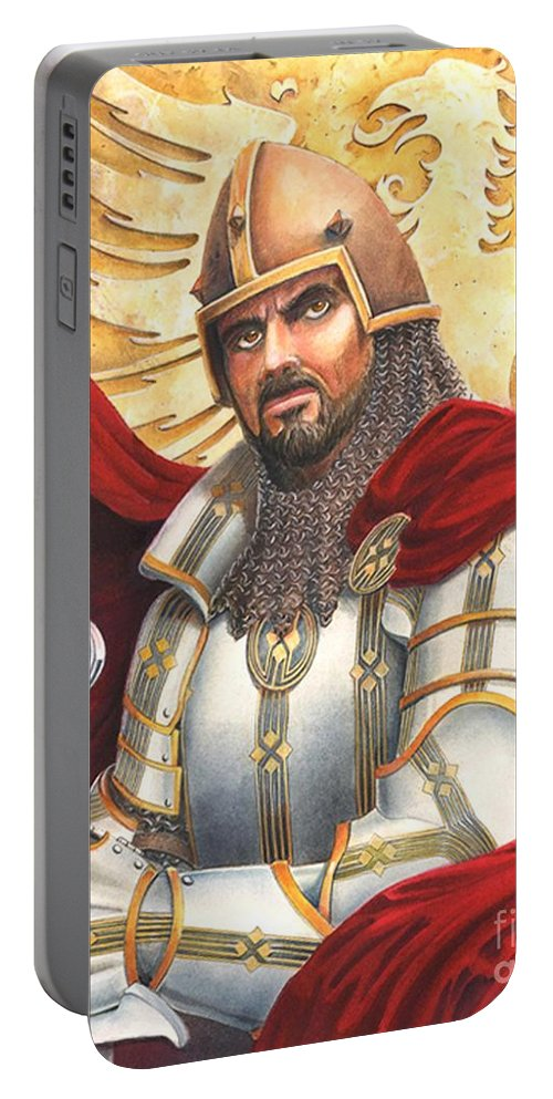 Swords Portable Battery Charger featuring the drawing Sir Gawain by Melissa A Benson