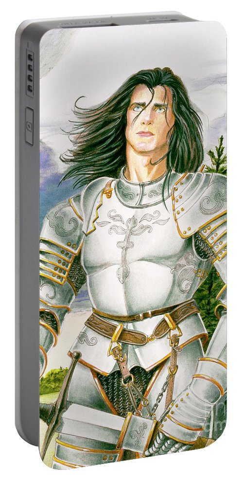 Swords Portable Battery Charger featuring the painting Sir Lancelot by Melissa A Benson