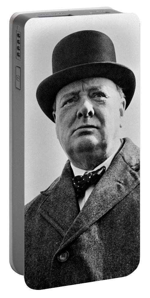 Wwii Portable Battery Charger featuring the photograph Sir Winston Churchill by War Is Hell Store