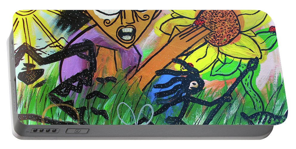 Portable Battery Charger featuring the painting Sirius Daze by Odalo Wasikhongo