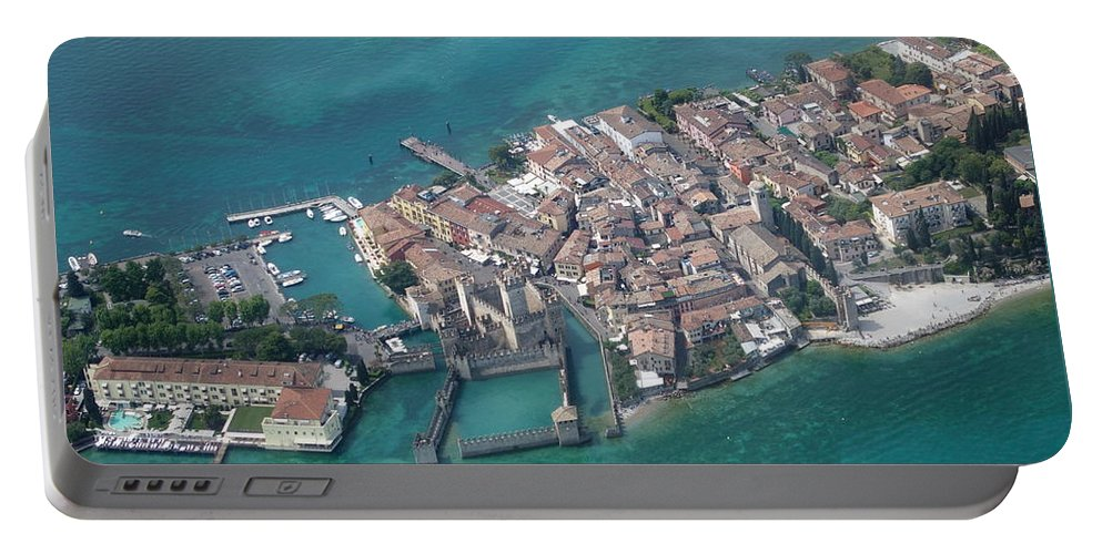 Garda Portable Battery Charger featuring the photograph Sirmione's Castle by Riccardo Mottola