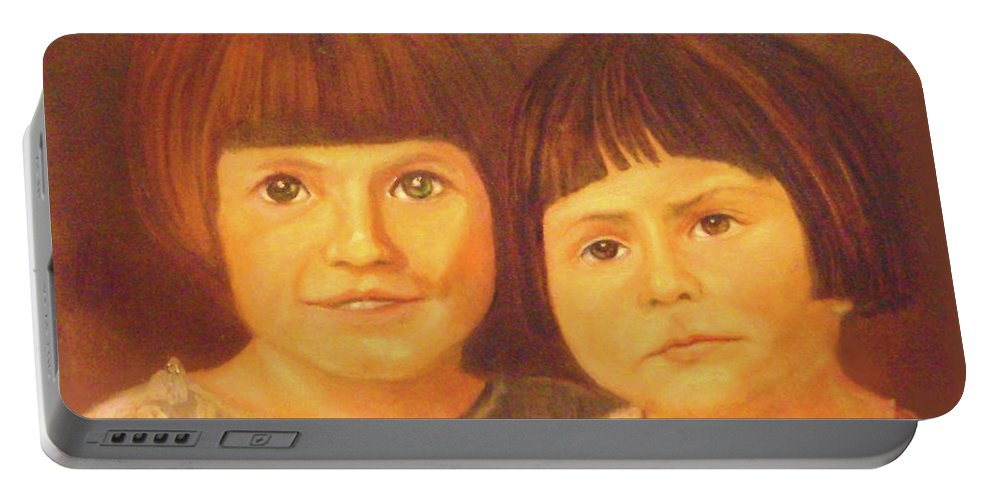 Portrait Portable Battery Charger featuring the painting Sisters by Jane Honn