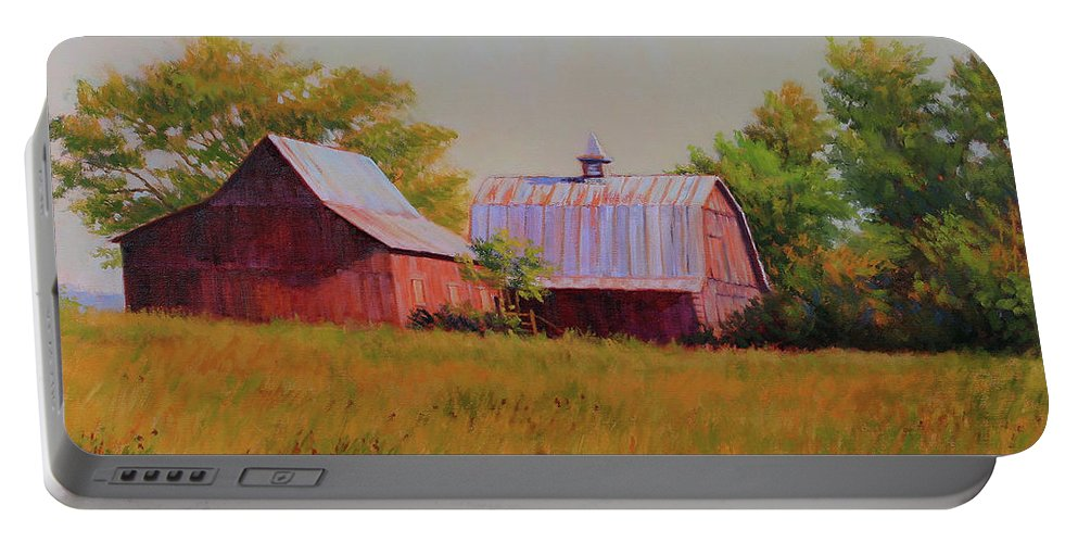 Barns Portable Battery Charger featuring the painting Sisters by Keith Burgess