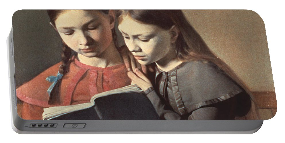 The Portable Battery Charger featuring the painting Sisters Reading A Book by Carl Hansen