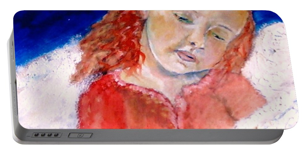 Angels Portable Battery Charger featuring the painting watching the Dreamers by J Bauer