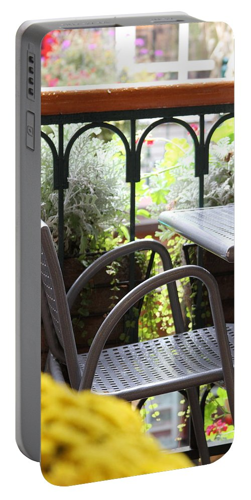 Chair Portable Battery Charger featuring the photograph Sit A While by Laddie Halupa