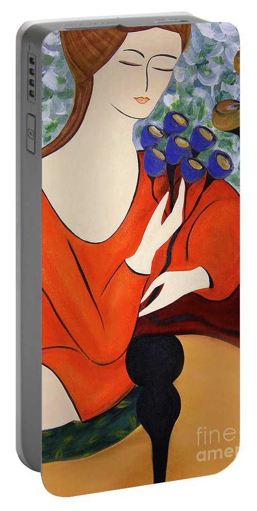 #female #figurative #floral #fineart #art #images #painting #artist #print #canvas #sittingwomen Portable Battery Charger featuring the painting Sitting Women by Jacquelinemari