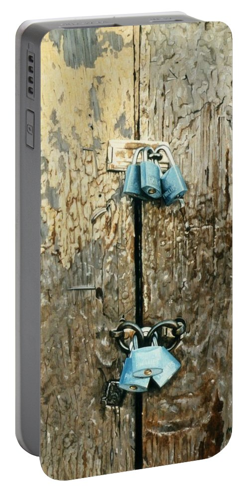 Hyperrealism Portable Battery Charger featuring the painting Six Locks by Michael Earney