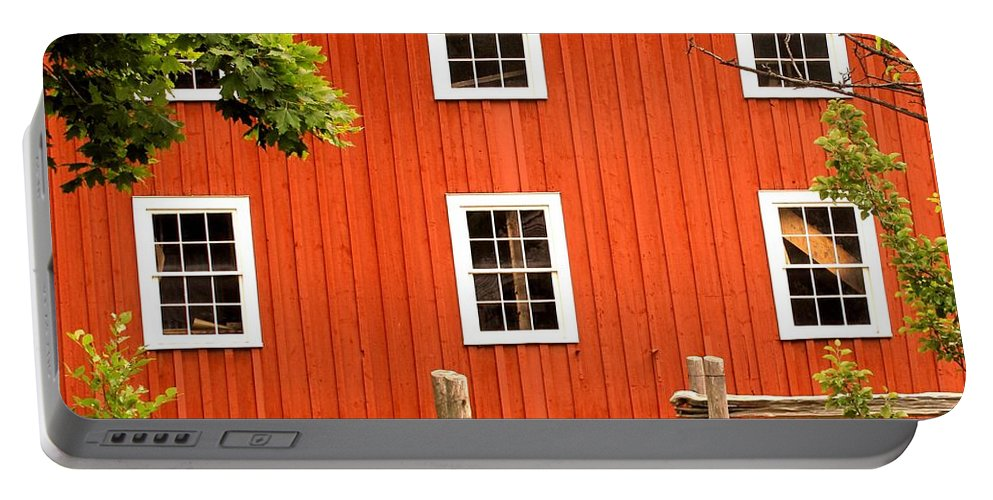 Red Wall Portable Battery Charger featuring the photograph Six Windows by Ian MacDonald