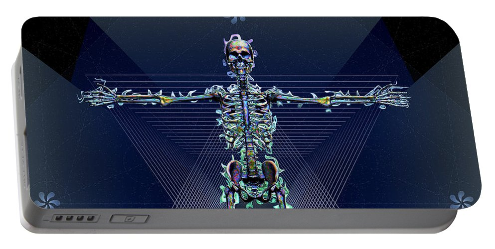 Skeleton Portable Battery Charger featuring the digital art Skeletal System by Iowan Stone-Flowers