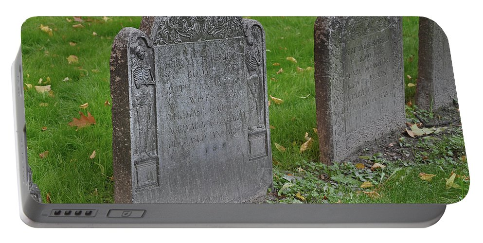 Boston Portable Battery Charger featuring the photograph Skeleton Tombstone 1600s by Brittany Horton