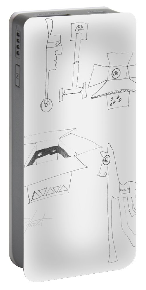 Sketch Portable Battery Charger featuring the painting Sketch Book Page by Charles Stuart