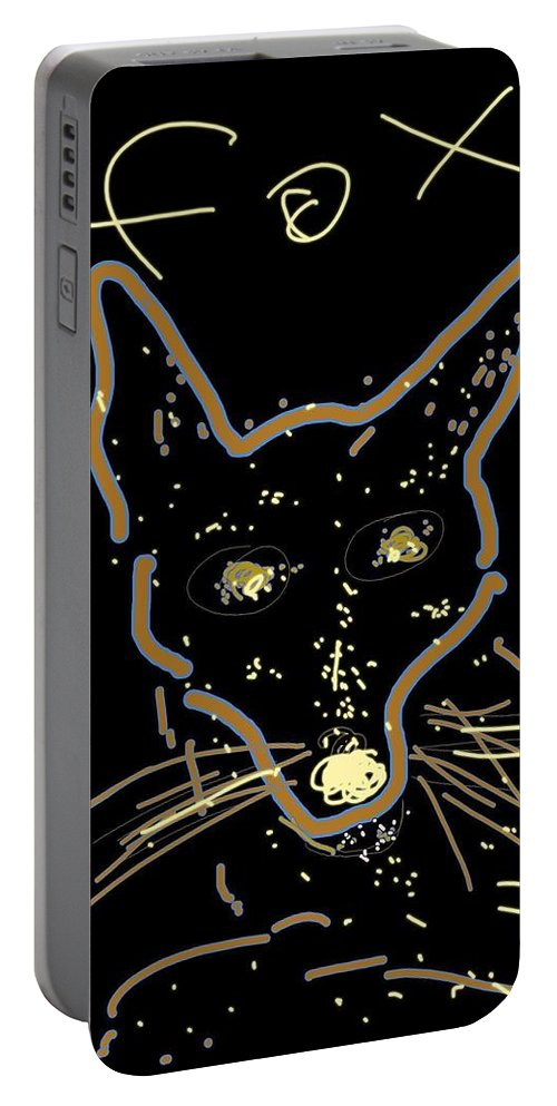 Sketch Portable Battery Charger featuring the digital art Sketch Of Fox By Kathy Barney by Kathy Barney