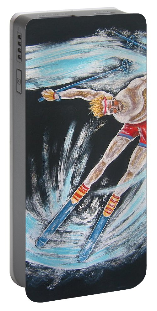 Abstract Sports Portable Battery Charger featuring the painting Ski Bum by V Boge