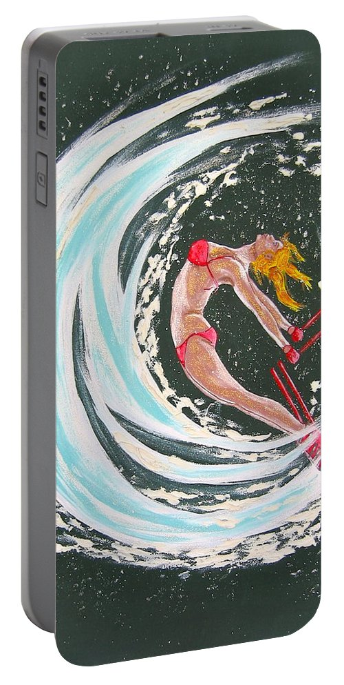 Abstract Sports Portable Battery Charger featuring the painting Ski Bunny by V Boge