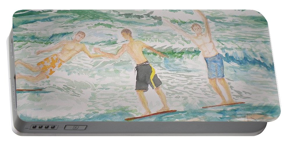Seascape Portable Battery Charger featuring the painting Skim Boarding Daytona Beach by Hal Newhouser