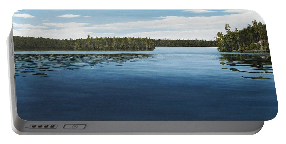 Landscapes Portable Battery Charger featuring the painting Skinners Bay Muskoka by Kenneth M Kirsch