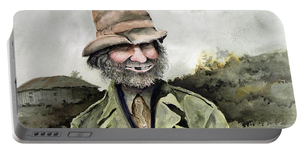 Portrait Portable Battery Charger featuring the painting Skinny Benny by Sam Sidders