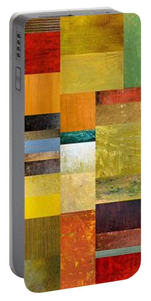 Skinny Portable Battery Charger featuring the painting Skinny Color Study L by Michelle Calkins