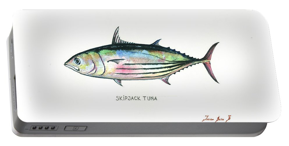 Tuna Fish Portable Battery Charger featuring the painting Skipjack Tuna by Juan Bosco