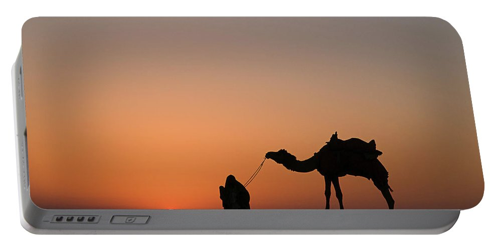 Silhouette Portable Battery Charger featuring the photograph Skn 0870 Silhouette At Sunrise by Sunil Kapadia
