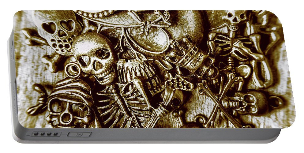 Gothic Portable Battery Charger featuring the photograph Skull And Cross Bone Treasure by Jorgo Photography - Wall Art Gallery