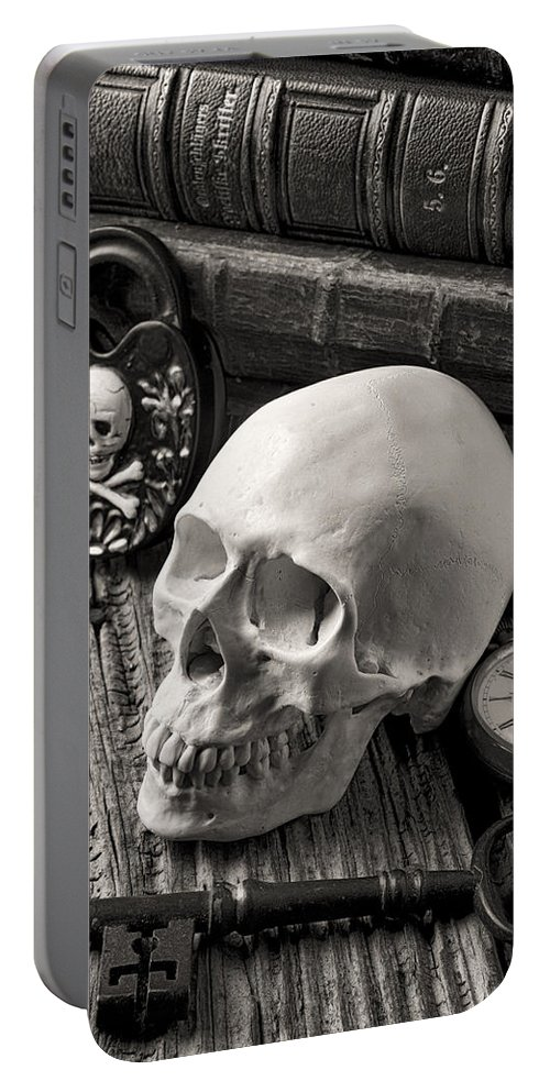Skull Portable Battery Charger featuring the photograph Skull And Skeleton Key by Garry Gay