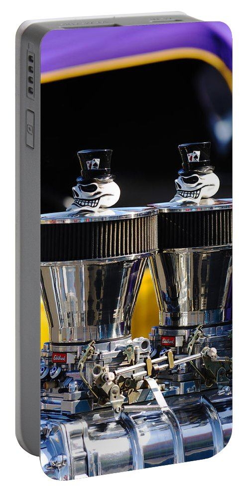 Hot Rod Portable Battery Charger featuring the photograph Skull - Engine Ornaments by Jill Reger