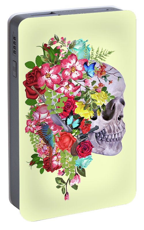 Mask Portable Battery Charger featuring the digital art Skull Floral 2 by Mark Ashkenazi
