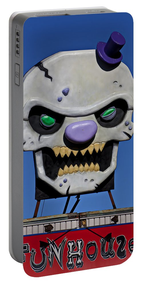 Skull Portable Battery Charger featuring the photograph Skull Fun House Sign by Garry Gay