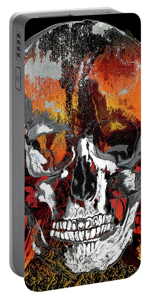 Skulls Portable Battery Charger featuring the digital art Skull Times Three by Lisa Stanley