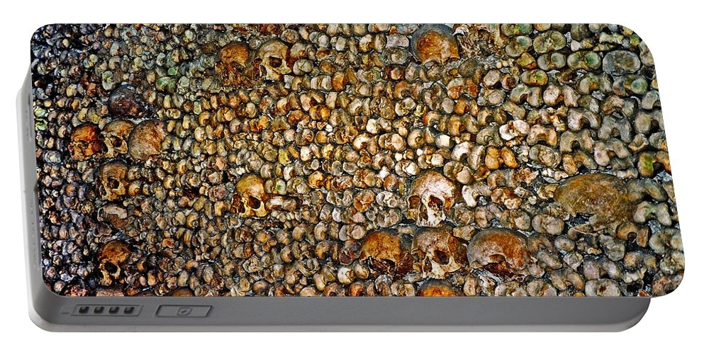 Skulls Portable Battery Charger featuring the photograph Skulls and Bones under Paris by Juergen Weiss