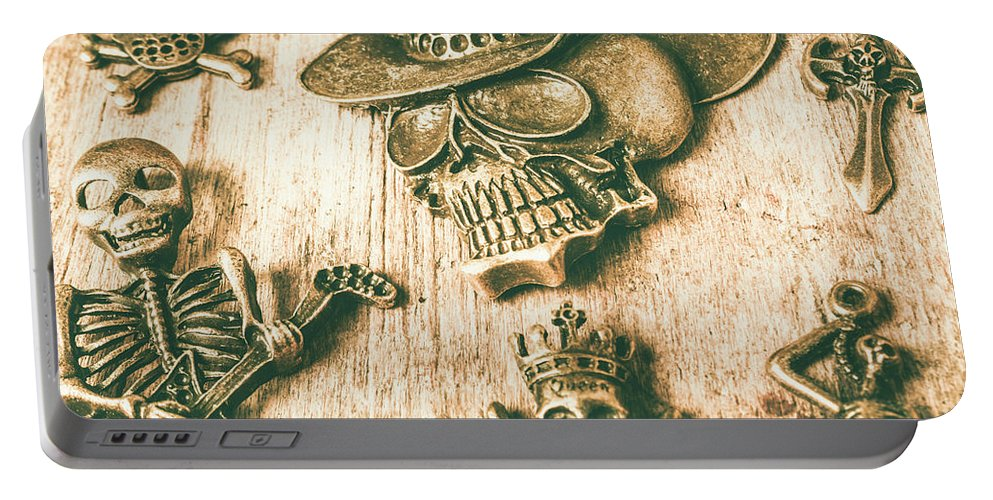 Skeleton Portable Battery Charger featuring the photograph Skulls And Pieces by Jorgo Photography - Wall Art Gallery