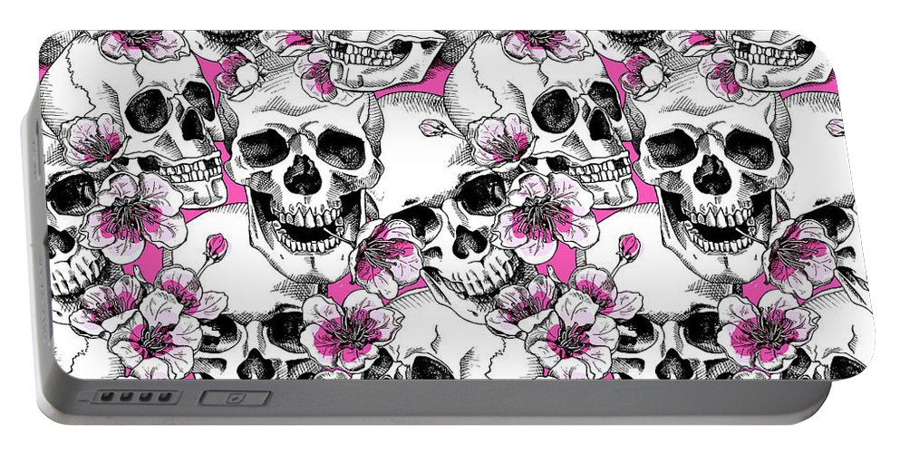 Skull Portable Battery Charger featuring the digital art Skulls And Red Flowers by Long Shot