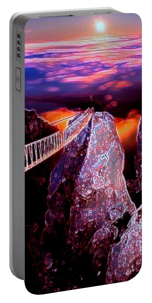 Bridge Portable Battery Charger featuring the digital art Sky Bridge by Michael Todd