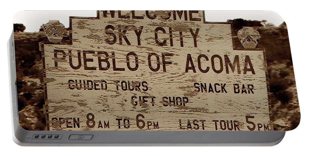Fine Art Photography Portable Battery Charger featuring the photograph Sky City Sign by David Lee Thompson