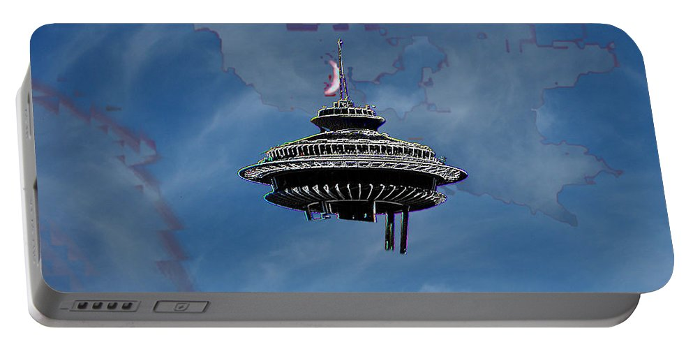 Seattle Portable Battery Charger featuring the photograph Sky Needle by Tim Allen