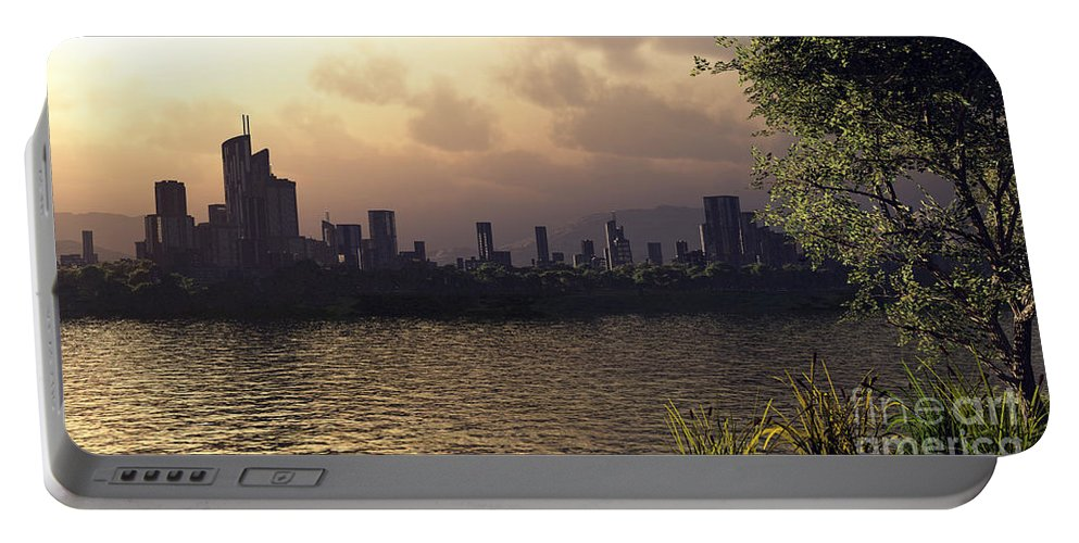 Cities Portable Battery Charger featuring the digital art Skyline Lake by Richard Rizzo