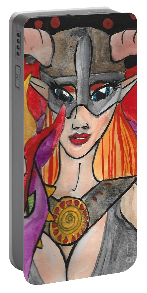 Skyrim Portable Battery Charger featuring the painting Skyrim Queen by Hanna Szafranski