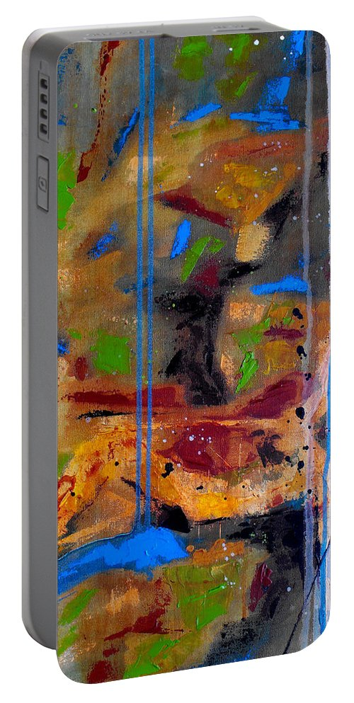 Abstract Portable Battery Charger featuring the painting Skyward by Ruth Palmer