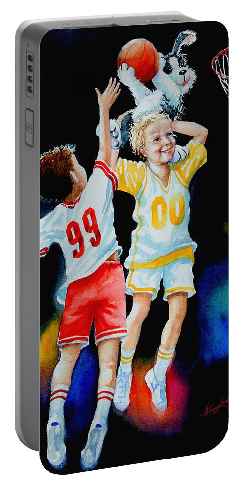 Boys Basketball Portable Battery Charger featuring the painting Slam Dunkin Dog by Hanne Lore Koehler