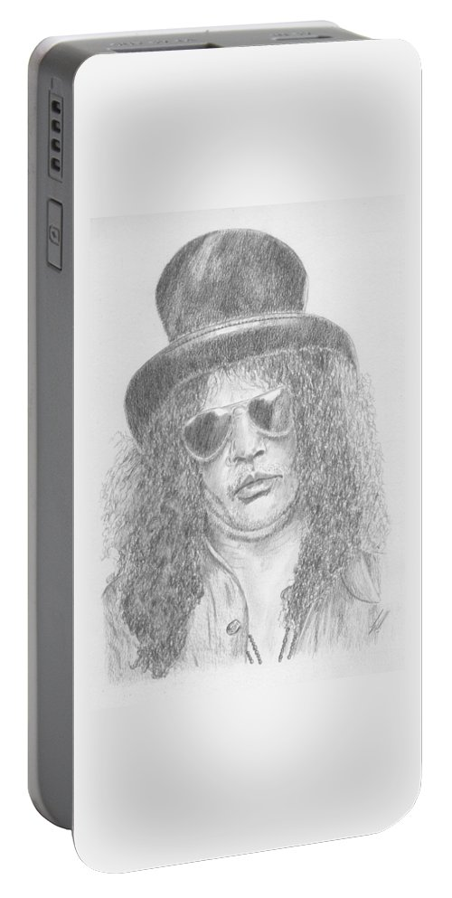 Slash (guns & Roses). Portable Battery Charger featuring the drawing Slash by Keith Miller