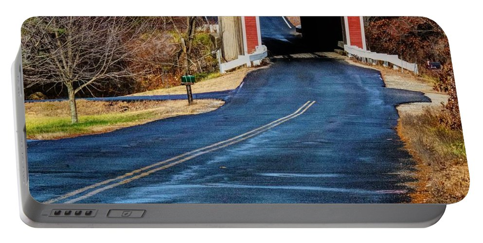 Landscape Portable Battery Charger featuring the photograph Slate Covered Bridge by Steve Brown