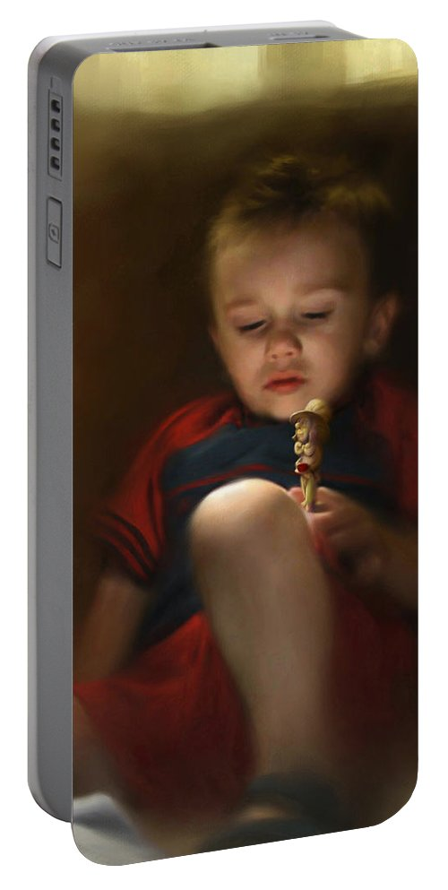 Boy. Figure Portable Battery Charger featuring the digital art Sleep Off To Wonderland by Stephen Lucas