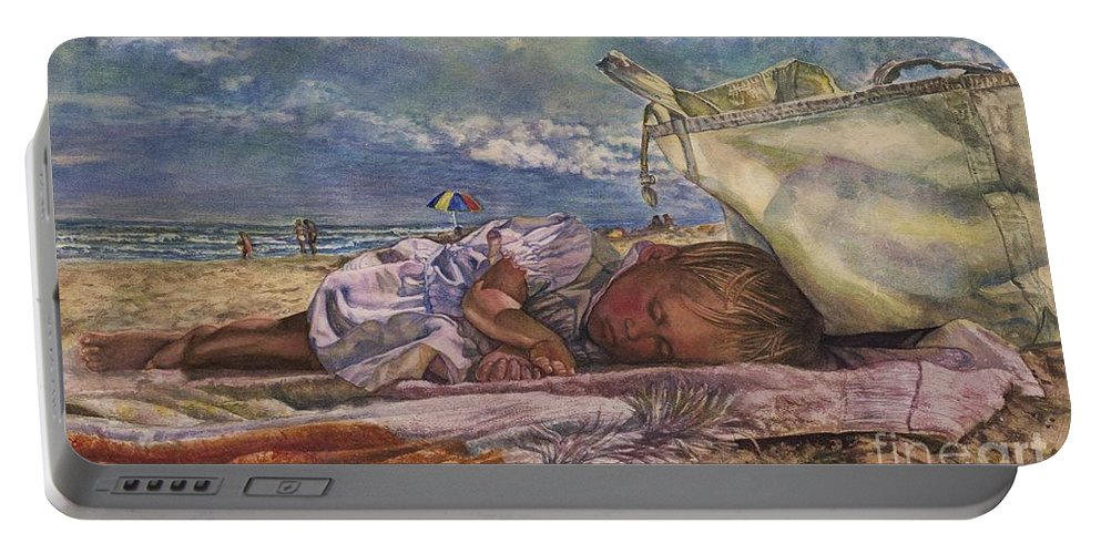 Cynthia Pride Watercolors And Art Portable Battery Charger featuring the painting Sleeping Beauty by Cynthia Pride