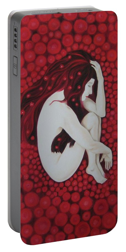 Female Portable Battery Charger featuring the painting Sleeping Beauty by Jindra Noewi