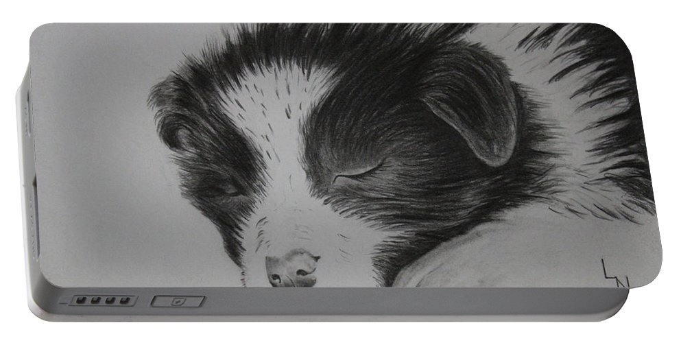 Puppy Portable Battery Charger featuring the drawing Sleeping Puppy by Ellen Moss