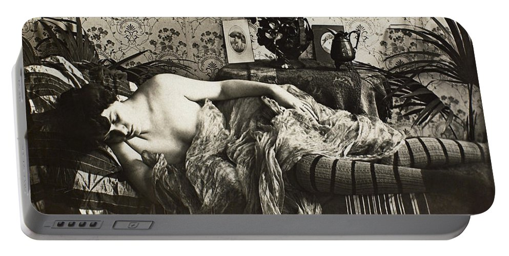 1900 Portable Battery Charger featuring the painting Sleeping Woman, C1900 by Granger